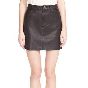 Current/Elliot Lambskin Leather mini skirt black